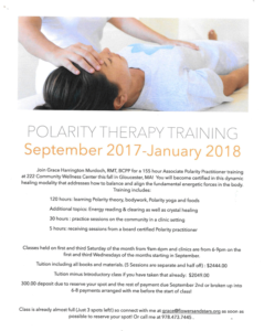 Polarity Therapy Training Clinics